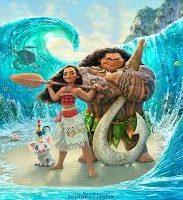 Portada del DVD de Moana/Vaiana con Maui, Vaiana, Hei Hei y Pua en mitad del océano abierto
